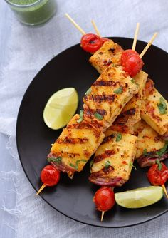 Grilled paneer with pickling spices. This entire blog has some great Indian food recipes. Vegetarian.