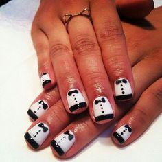 Tuxedo black and white bow nailart Nail Swag, Mani Pedi, Pedicure, The Art Of Nails, Nail Art Hacks, Nail Polish Colors, Just Amazing, Nail Artist, Toe Nails