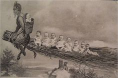 """vintage everyday: Creepy Krampus – 30 Vintage Postcards of the """"Devil Santa Claus from Europe"""" That Will Haunt Your Dreams"""