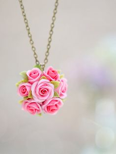 pink rose flowers necklace polymer clay handmade by Joyloveclay