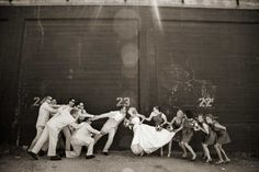 Bride and groom tug-of-war. So want to do this for one of my wedding pictures! Wedding Poses, Wedding Bride, Wedding Engagement, Wedding Ideas, Bride Groom, Party Wedding, Funny Wedding Photos, Wedding Pictures, Perfect Wedding