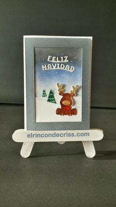 Tarjeta navideña reno feliz navidad