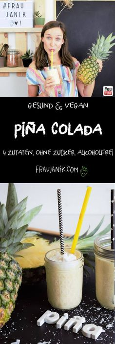 Piña Colada Mocktail - food and drink Pina Colada Mocktail, Easy Drink Recipes, Weight Watchers Desserts, Ginger Ale, Non Alcoholic Drinks, Vegan Sweets, 4 Ingredients, Smoothies, Pina Colada