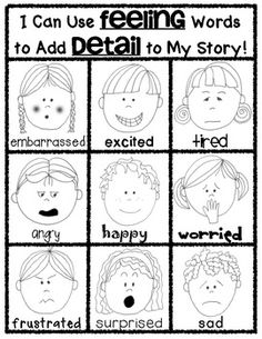 (sample page) Writers Workshop POSTER: Adding DETAILS using FEELING WORDS. Blackline and Color included in this download. $