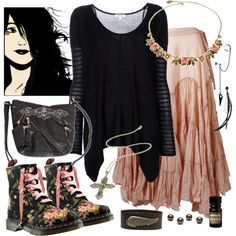A fashion look from January 2012 featuring stripe shirt, long skirts and lace up boots. Browse and shop related looks. Dark Fashion, Fashion Looks, Witch Fashion, Gothic Hoodies, Wiccan Clothing, Hippie Goth, Casual Goth, Witch Outfit, Gothic Outfits