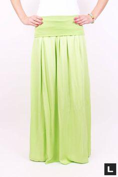 Moderná maxi sukňa limetka