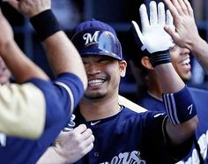 Norichika Aoki's walk-off home run gives the Brewers a 4-3 win over the Cubs! I loved watching this game today! :) He looked so happy!