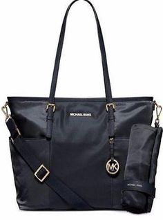 New MICHAEL KORS Black Jet Set Lrg Pocket Baby Diaper Bag Tote Satchel NWT  | Clothing