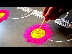 Rangoli for diwali | Easy unique rangoli using simple tools | diwali special Rangoli - YouTube