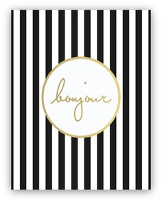 Bonjour Gold Foil + Stripes print, perfect for a dressing room, powder room etc. | ssprintshop.com