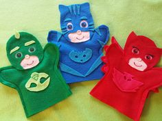 PJ Masks Felt Puppets  You get all 3 puppets  if you dont want all 3 please email me what you would like  these are hand puppets  hand made from felt  fits kids and adult hands  body is machine stitched pieces are hot glued on  I make custom pu...