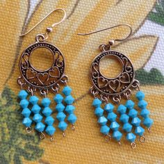 #Swarovski crystal #earrings in bright opaque turquoise! Our Dreamcatcher earrings are available in 3 lengths. Buy 2 and receive a 3rd pair FREE! #jewelry