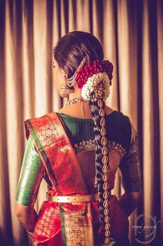 This bride sure knows how to turn heads! How gorgeous is her wedding day look! For some more wedding gorgeousness, head… Bridal Braids, Bridal Hairdo, Indian Wedding Hairstyles, Bride Hairstyles, Saree Hairstyles, Hairstyle Ideas, Bridal Looks, Bridal Style, Indian Bridal Sarees