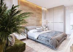 Спальня хозяев исполнена всветло-серых тонах —в качестве акцентного цвета Валерия выбрала модный зеленый, объявленныйPantone цветом 2017 года. Сложно придумать более подходящие тона для спальни: спокойные, расслаблящие и приятные.