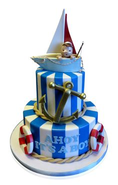 Ahoy It's A Boy Baby Shower Cake This fun cake was made with a nautical theme for a baby shower. This little boy is going to own boats and maybe become a sailor! http://cmnycakes.com/gallery2/v/Cakes+For+All+Occasions/Ahoy+Its+A+Boy+Baby+Shower+Cake.html