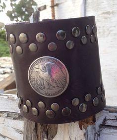 HALF DOLLAR plum studded LEATHER cuff bracelet by whackytacky.com, $39.99