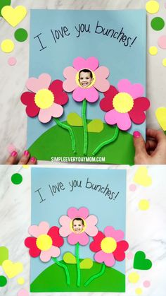 A sweet kid-made photo flower craft perfect for Mother's Day or Spring! A sweet kid-made photo flower craft just for mom on her special day! Whether you're looking for a fun spring kid craft or a Mother's Day card idea, these dancing foam flowers are perf Mothers Day Crafts For Kids, Holiday Crafts For Kids, Crafts For Kids To Make, Fun Crafts, Art For Kids, Paper Crafts, Art Children, Crafts For Grandparents Day, Mothers Day Cards Homemade