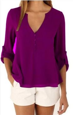 Women Plus Big Size Casual Chiffon Blouse Tops Female 2018 Summer White Solid Sleeve V-Neck Elegant Hot Tee Shirts Cheap Blouses, Shirt Blouses, Blouses For Women, T Shirt, Tunic Shirt, Women's Shirts, Chiffon Shirt, Chiffon Tops, Chiffon Fabric