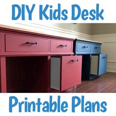 Printable build plans and tutorial for this beautiful DIY wood kids desk with 3 drawers for storage. How to make a kids wooden desk. videos desk DIY Wood Kids Desk Plans with Storage - Abbotts At Home Diy Furniture Videos, Diy Kids Furniture, Do It Yourself Furniture, Pipe Furniture, Furniture Vintage, Furniture Plans, Furniture Design, Diy Drawers, Desk With Drawers