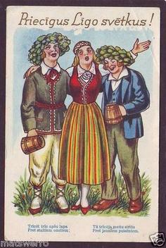 """Circa 1930 """"Ligo"""" National Costume. Latvian postcard."""
