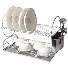 Dish Drying Rack Walmart Entrancing Chrome 2 Tiers Dish Drying Rack Drainer Dryer Tray Kitchen Rv Plate Design Ideas