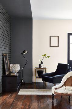 Un salon gris anthracite, Little Greene Peinture Little Greene, Little Greene Paint, Best Interior Paint, Home Interior, Interior Design, Luxury Interior, Contemporary Interior, Top Paint Colors, Best White Paint
