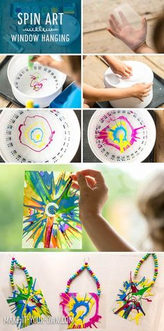 "Kid-Made Spin Art Wall Hangings. This transparent suncatcher is a different ""twist"" on the classic favorite of spin art!"