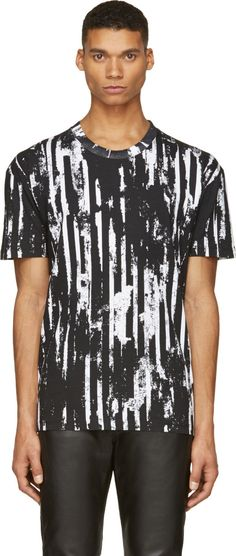McQ Alexander Mcqueen Black Distorted Stripe T-Shirt