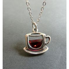 Coffee Cup Necklace. Cup of Coffee or Tea Pendant. Sterling Silver Tea... ($26) via Polyvore featuring jewelry, necklaces, sterling silver pendant necklace, sterling silver necklace pendant, sterling silver jewelry, pendant jewelry and sterling silver necklace