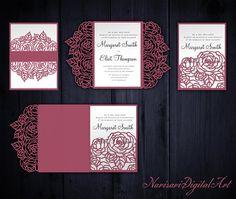 TriFold Roses X Wedding Invitation Pocket Envelope Svg Template