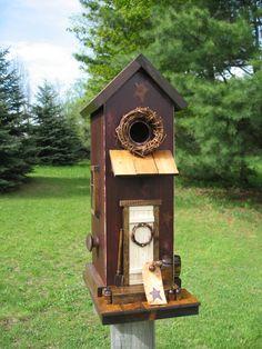 Folk Art Primitive Saltbox Antique Red House Birdhouse
