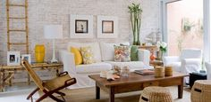omg the white brick wall adds so much to the living room get the look with our diy easy to install faux brick panels Faux Brick Panels, Brick Paneling, Brick Walls, Living Room Designs, Living Spaces, Living Rooms, Home And Deco, Furniture Arrangement, Sweet Home