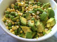 Raw peas, avocado and corn salad