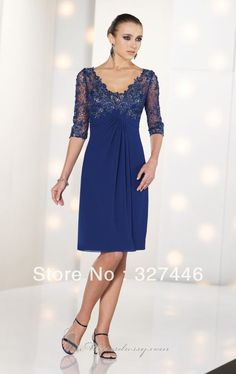 2014 Sexy Short 3/4 Sleeves Blue V Neck Mother Of the Bride Dresses Backless Appliqued Lace Pleats Semi Formal Special Occasion $79.08