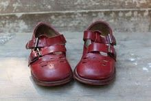 Vintage cranberry red shoes.  Had a little friend in 2nd grade,   (in 1956), who had shoes just like this.