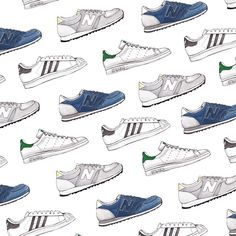 Good objects - Sneakers watercolor pattern #newbalance #adidas #stansmith #superstar #goodobjects