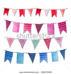 Watercolor vintage flags garlands set in vector. Party, baby room and wedding decor elements with various modern patterns: polka dots, stripes, zigzag.