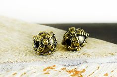 Spacer Beads 12mm, Ethnic Patterned Beads, Bali Style Round Ball Beads, Antique Bronze Boho Slider Beads, 4 pieces