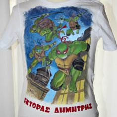Hand painted, cotton fabric children's tee, using non-toxic, water based, permanent fabric colors. Teenage Mutant Ninja Turtles, Birthday Presents, Tmnt, Boys Who, Little Boys, Cotton Fabric, Greek, Hand Painted, Colors