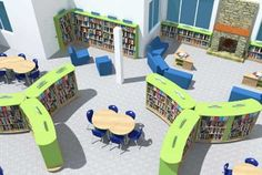 Library Design Service School Building Design, School Library Design, Elementary School Library, Home Library Design, Elementary Schools, School Library Displays, Library Inspiration, Library Shelves, Secondary School