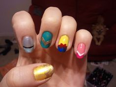 Disney Princess nails! switch the black for silver glitter.