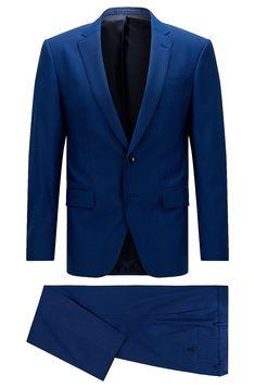 Traje slim fit en lana virgen elástica  Azul desde BOSS para Hombre para 649,00 € en la tienda online oficial de HUGO BOSS free shipping