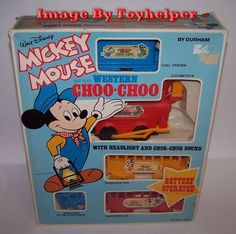 Vintage Disney Mickey Mouse Western Choo Choo Toy Train with Track Durham