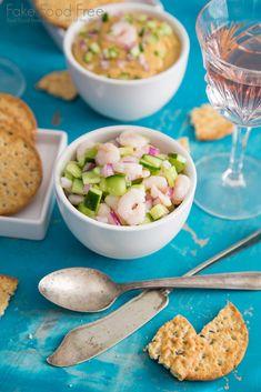 Shrimp Cucumber Salad served with Smoky Shrimp Dip | Recipe | Fake Food Free #cultivarwinebloggers #sponsoredbyproduct