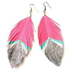 Pink Neon & Silver Glitter Feather Earrings.