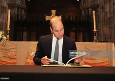 Prince William, Duke of Cambridge signs a book of condolence at Manchester Cathedral where he met first responders and members of the local community who provided vital care and support to those affected by last week's suicide bomb attack, including representatives from St John's Ambulance, Northern Rail and the British Red Cross on June 2, 2017 in Manchester, England.