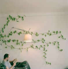 Maybe not REAL ivy but a good idea would be a design, mural, or effect on the wall and spreading to the ceiling.