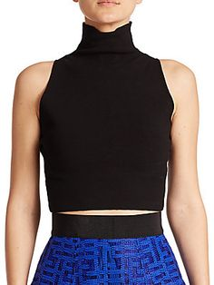 MILLY Sleeveless Turtleneck Cropped Top