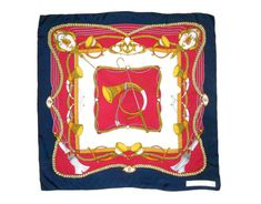 Square silk scarf Vintage Italy Equestrian Blue Red silk neck scarf Large head scarf Women accessories Gift for her Yellow Sign, Silk Neck Scarf, Velvet Scarf, Vintage Italy, Hand Roll, Purple Velvet, Red Silk, Neck Scarves, Womens Scarves