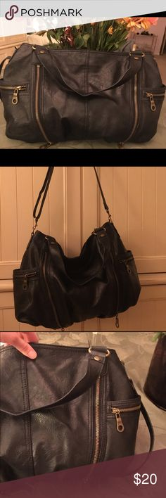 Black Handbag with zipper detail Black handbag bought from Macy's. Can be used as crossbody or a shoulder bag. Has gold zipper detail. Brand Style and Co.  Offers through the offer button are welcomed!👍 Style & Co Bags Crossbody Bags